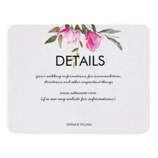 Cartão de detalhes floral do casamento da aguarela