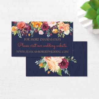 Cartão de detalhes floral do casamento dos azuis