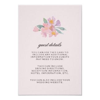 Cartão de detalhes floral do convidado da aguarela