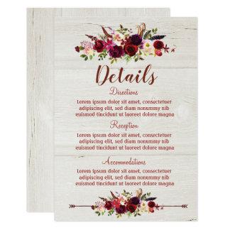Cartão de detalhes floral vermelho do casamento de