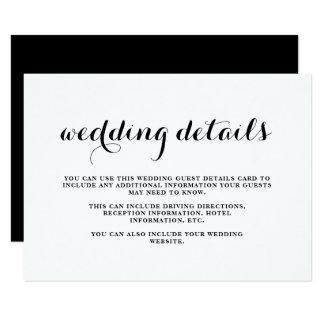 Cartão de detalhes preto e branco do convidado do