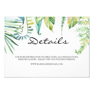 Cartão de detalhes tropical da folha