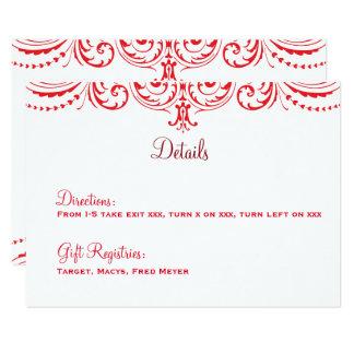 Cartão de detalhes vermelho & branco do casamento convite 8.89 x 12.7cm