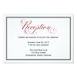 Cartão de detalhes vermelho elaborado da recepção