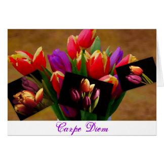 Cartão de Diem do Amor-Carpe da tulipa
