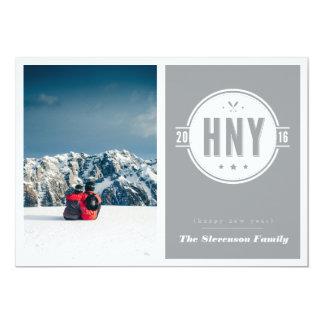 Cartão de Digitas do ano novo do emblema do Convite 12.7 X 17.78cm
