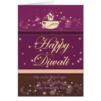 Cartão de Diwali com lâmpada - Diwali feliz