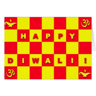 Cartão de Diwali da verificação do vermelho & do