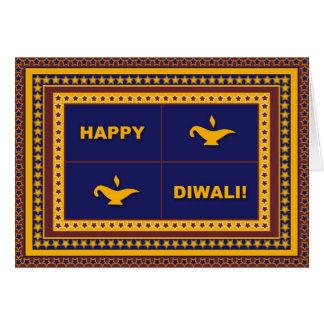Cartão de Diwali das lâmpadas & das estrelas