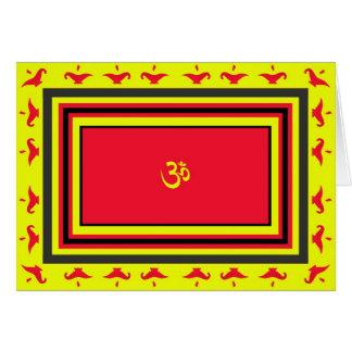 Cartão de Diwali do OM & da lâmpada