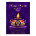 Cartão de Diwali no ouro e roxo com luz