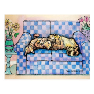 Cartão de dois gatos de gato malhado do sono