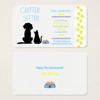 cartão de empresa de serviços de assento do animal