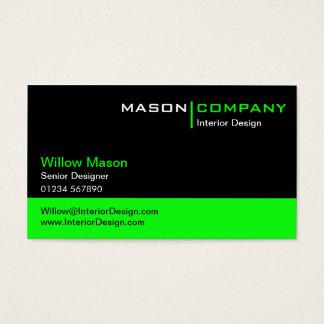 Cartão de empresa do preto e do verde limão