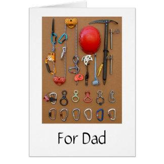 Cartão de escalada do equipamento para o pai