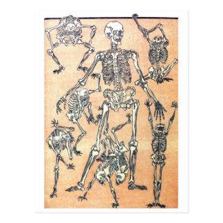 Cartão de esqueleto da dança