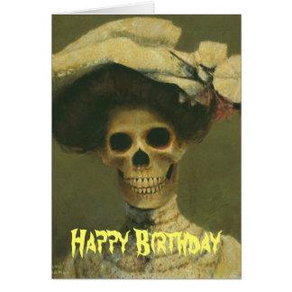 Cartão de esqueleto gótico da senhora aniversário