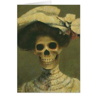 Cartão de esqueleto gótico da senhora cumprimentos