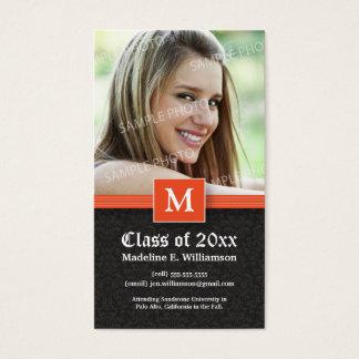 Cartão de estado elegante da graduação do damasco