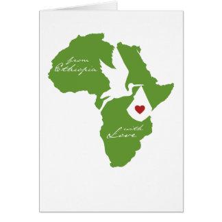 Cartão De Etiópia com adopção do amor o chá convida