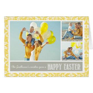 Cartão Cartão de felz pascoa amarelo da colagem da foto