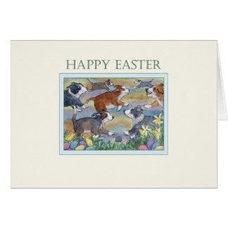 Cartão de felz pascoa, cães que caçam para ovos da