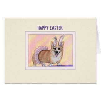 Cartão de felz pascoa, cão do Corgi no tutu &