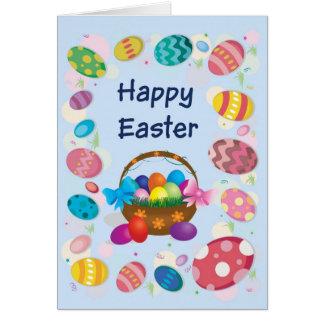 Cartão de felz pascoa - cesta com ovos da páscoa
