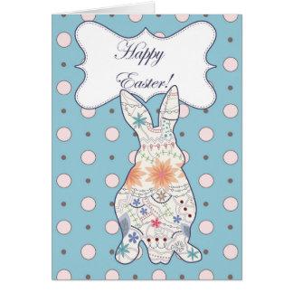 Cartão de felz pascoa com vintage do coelho