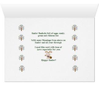 Cartão de felz pascoa - esquilo com árvore do ovo