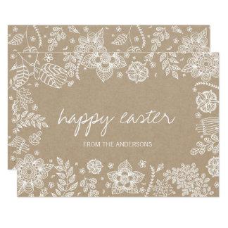 Cartão Cartão de felz pascoa floral rústico de Kraft