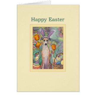 Cartão de felz pascoa, galgo nas orelhas do coelho