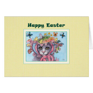 Cartão de felz pascoa, gato em uma capota da