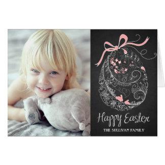 Cartão de felz pascoa lunático rústico do ovo da p