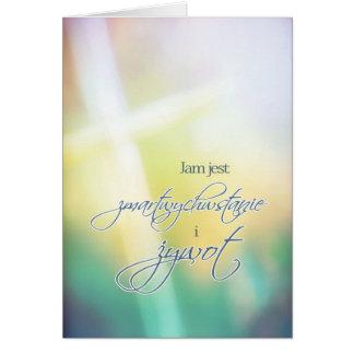 Cartão de felz pascoa religioso polonês