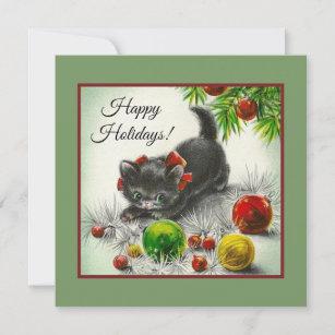 Cartão De Festividades Boas festas jogo do gatinho do vintage 3393ae6f4ed90