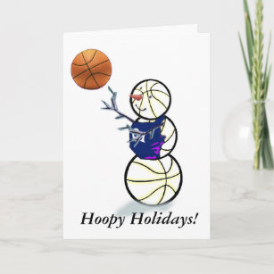 Cartão De Festividades Natal do boneco de neve do basquetebol d7e807a5fae32