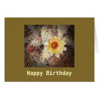 Cartão Cartão de florescência do modelo do cacto do feliz