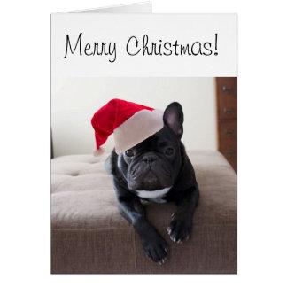Cartão de Frenchie do Feliz Natal