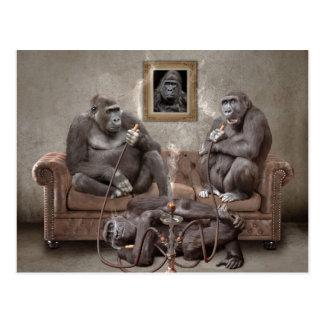 Cartão de fumo dos macacos do cachimbo de água
