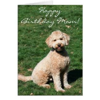 Cartão de Goldendoodle da mamã do feliz