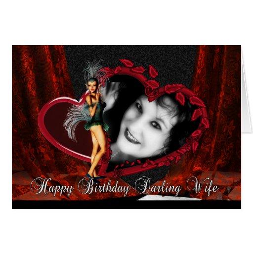 Cartão de imagem do aniversário da esposa - arte d