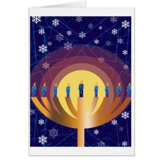 Cartão de incandescência dourado de Hanukkah