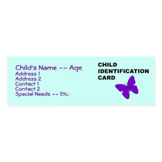 Cartão de Indentification da criança Cartão De Visita Skinny