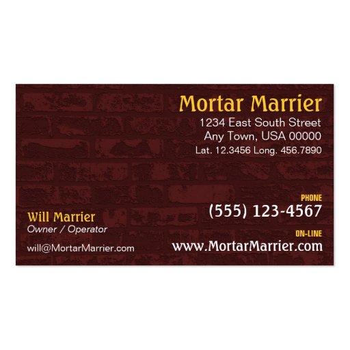 Cartão de indústria da construção do tijolo cartões de visitas