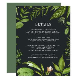 Cartão de informação da meia-noite do convidado do