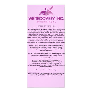 Cartão de informação de WRITECOVERY 10.16 X 22.86cm Panfleto
