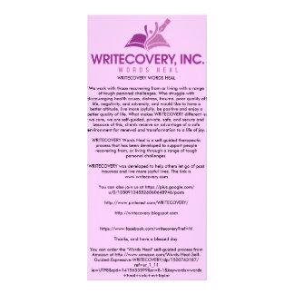 Cartão de informação de WRITECOVERY Panfleto Informativo