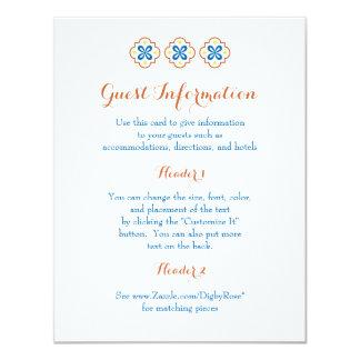Cartão de informação do azulejo do espanhol de convite 10.79 x 13.97cm