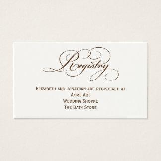 Cartão de informação do registro do casamento do